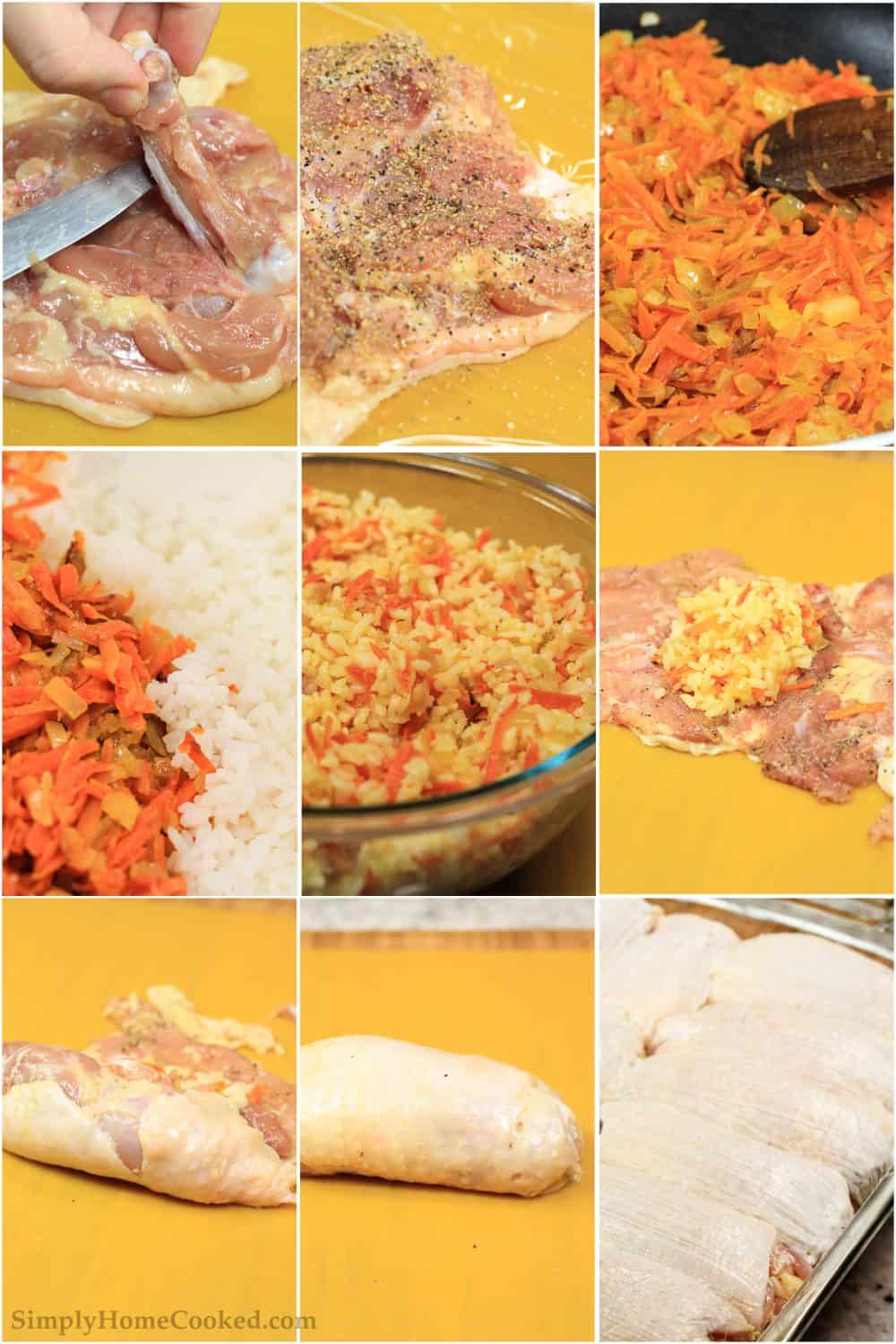 Picture collage tutorial of how to debone chicken thighs, cook vegetables and rice mixture, then stuff chicken thighs before baking them for the stuffed chicken thighs recipe