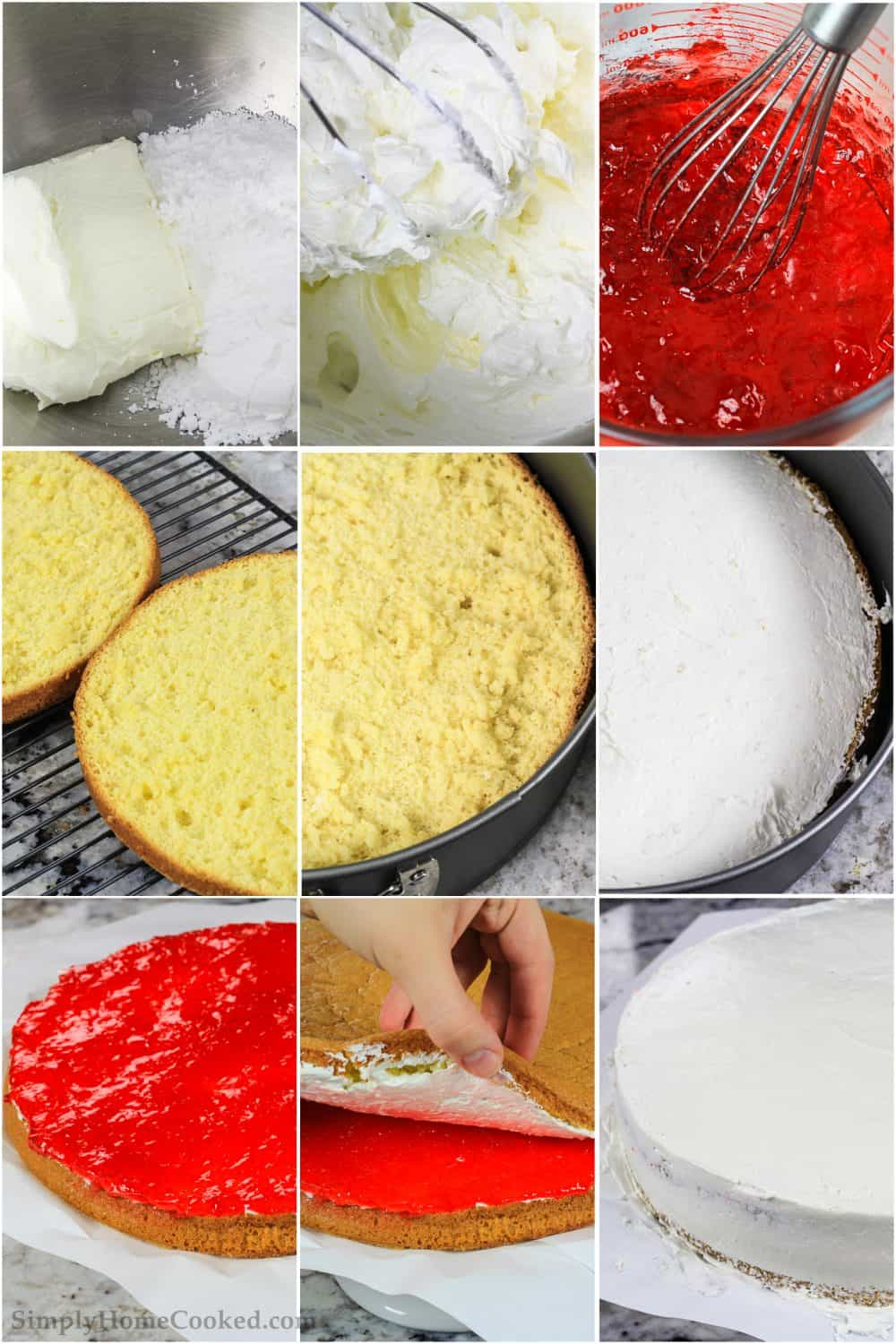 Step by step photo collage of mixing cream cheese and Jello layers for this cherry Jello cake recipe
