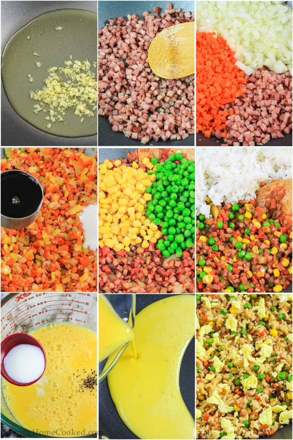 a step by step photo collage of how to make easy pork fried rice in a wok