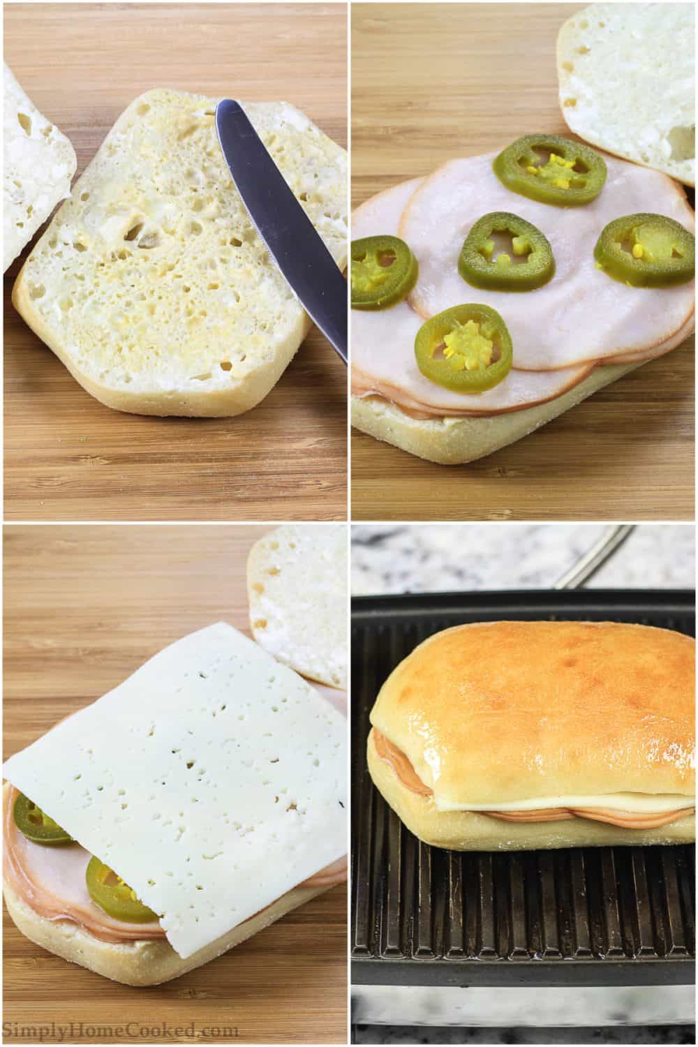 Photo collage of the process of making a panini recipe using turkey, havarti, and jalapeno
