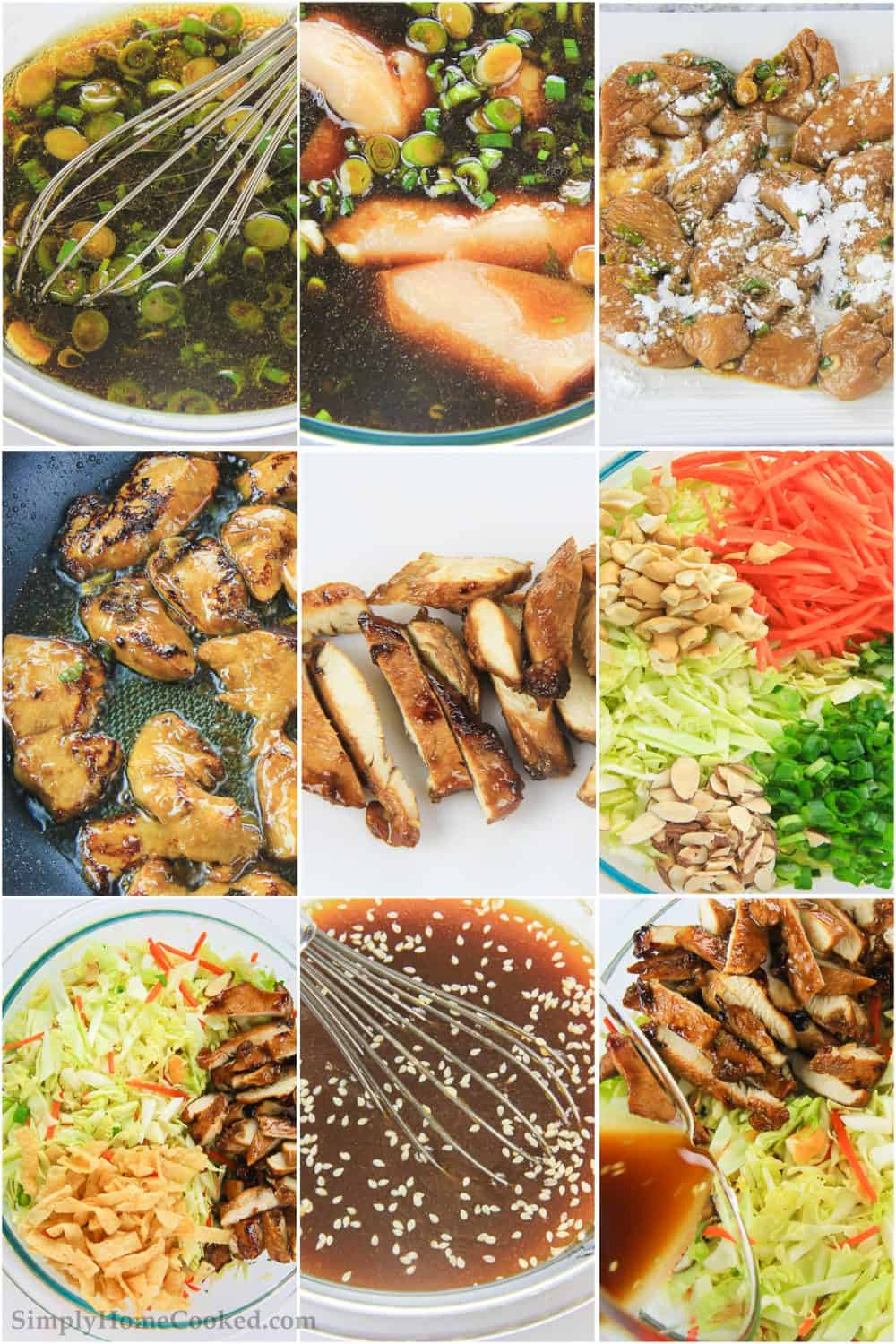 a step by step photo collage on how to make a simple asian chicken salad