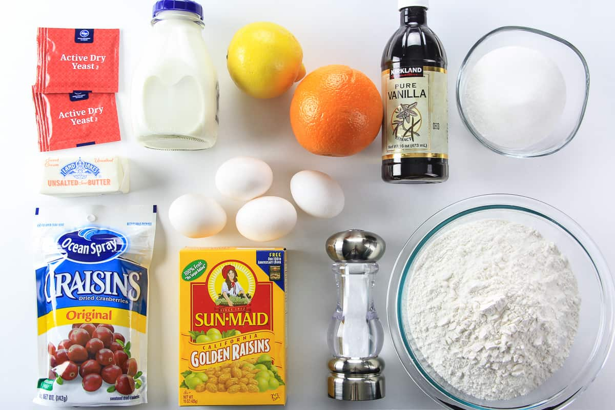ingredients for panettone bread