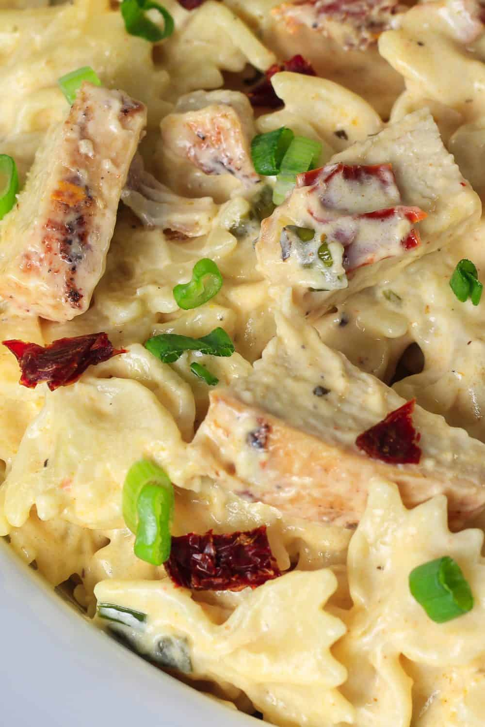 Creamy blackened alfredo pasta with grilled chicken green onion and sun-dried tomatoes on top.