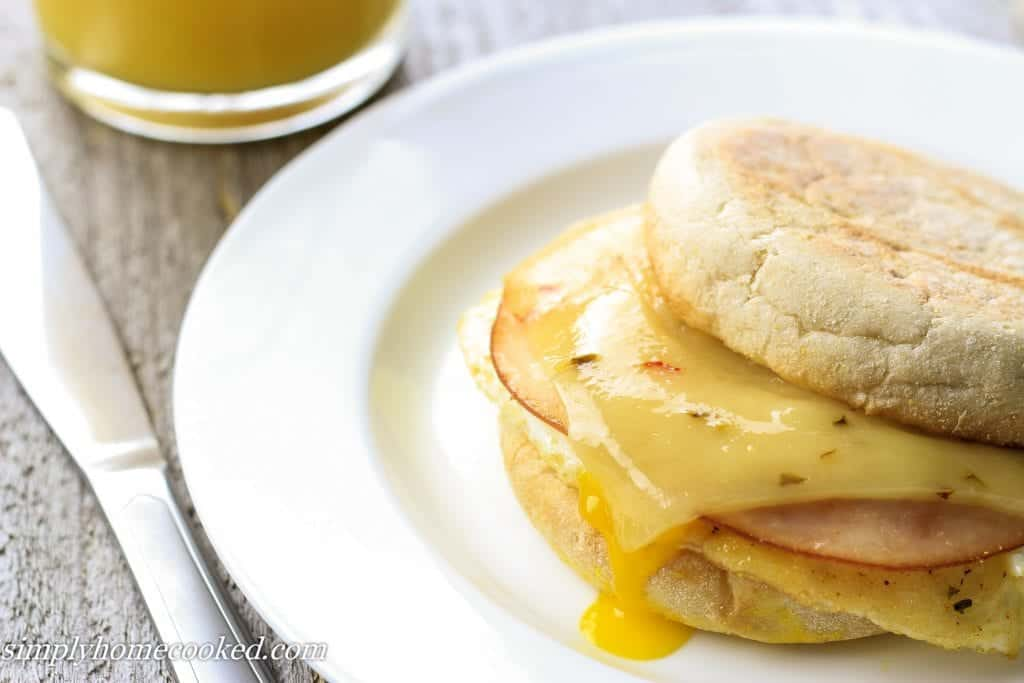 breakfast sandwich with sliced turkey, pepper jack cheese, egg, and english muffin.