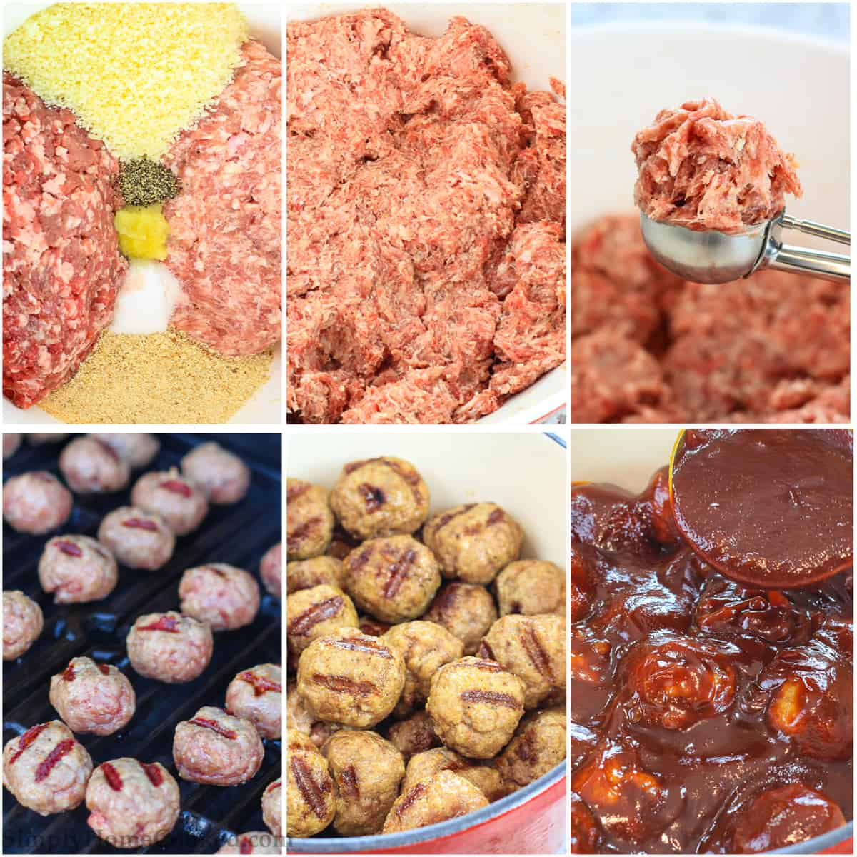 A picture collage of the steps of preparing the meatball mixture, cooking the barbecue meatballs and then simmering in the homemade barbecue sauce before serving