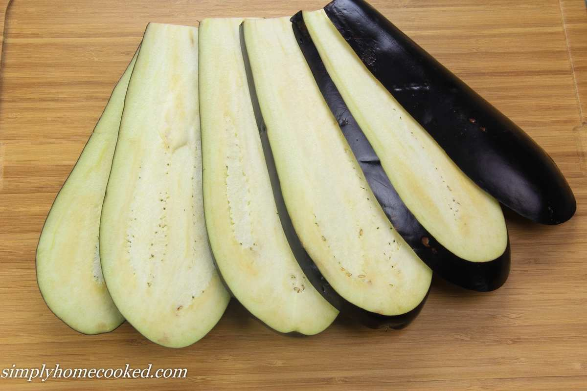 how to cut eggplant into strips