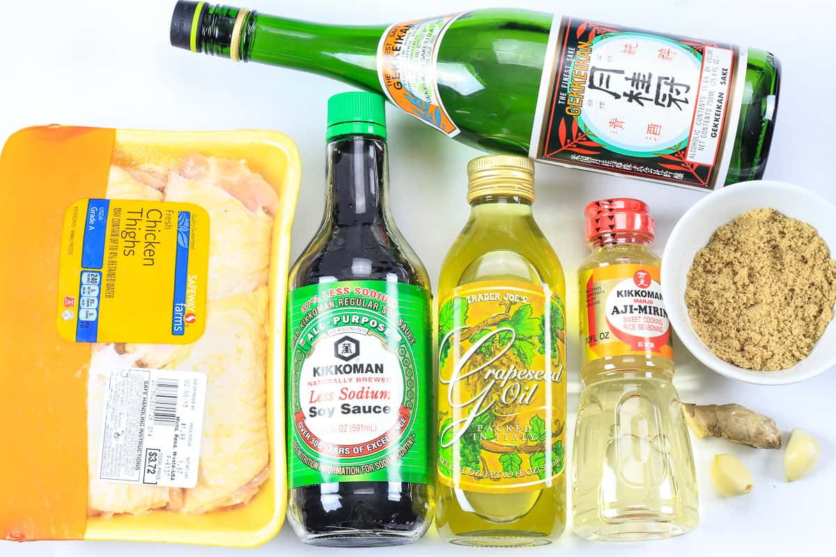 The ingredients to make teriyaki chicken