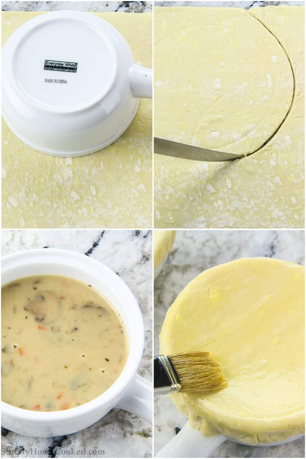 a step by step picture collage of how to make a puff pastry crust topping for mushroom soup