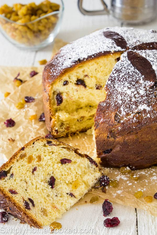 sliced panettone bread on brown parchment paper