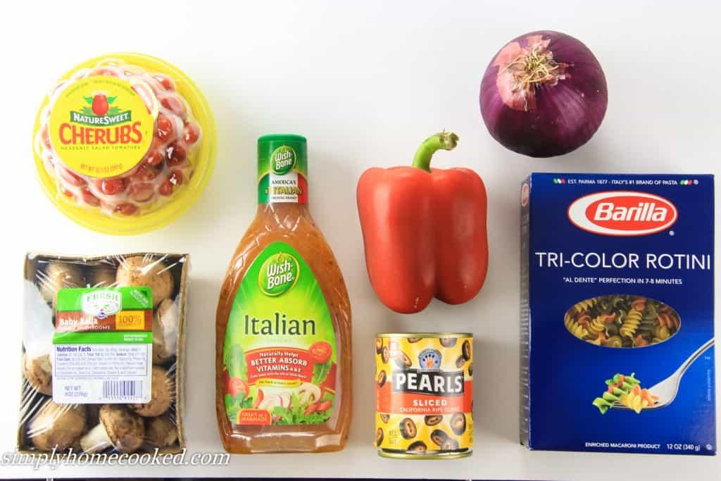 Tri Color Pasta Salad ingredients