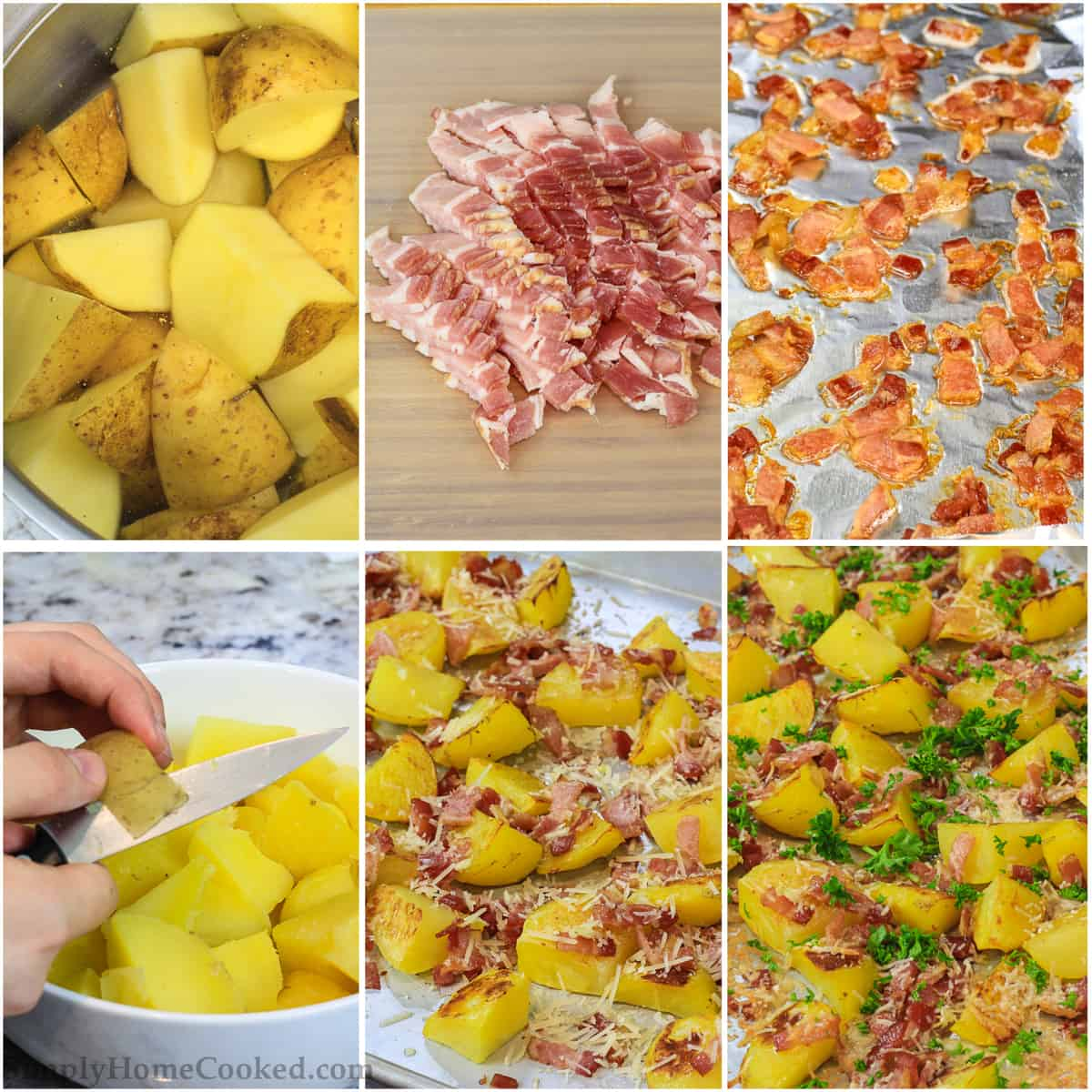 a step by step photo collage of how to make oven roasted potatoes