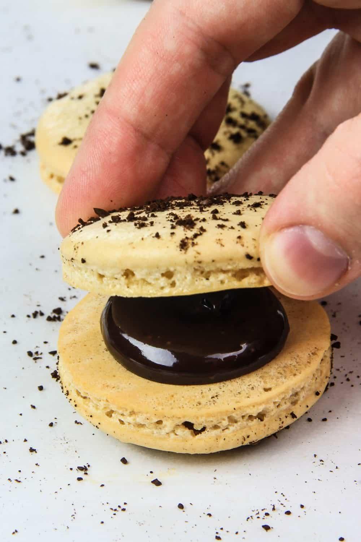 coffee macaron with chocolate ganache