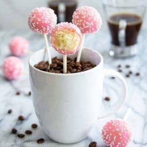 Pink Cake Pops in a mug