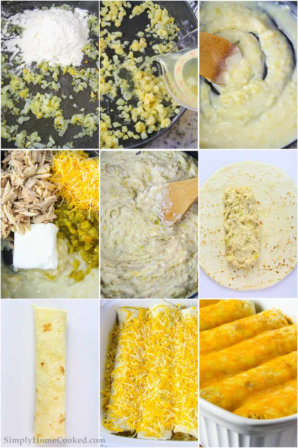 Collage of pictures showing the step by step process of making the cheesy chicken tortillas mixture, rolling, and baking them.