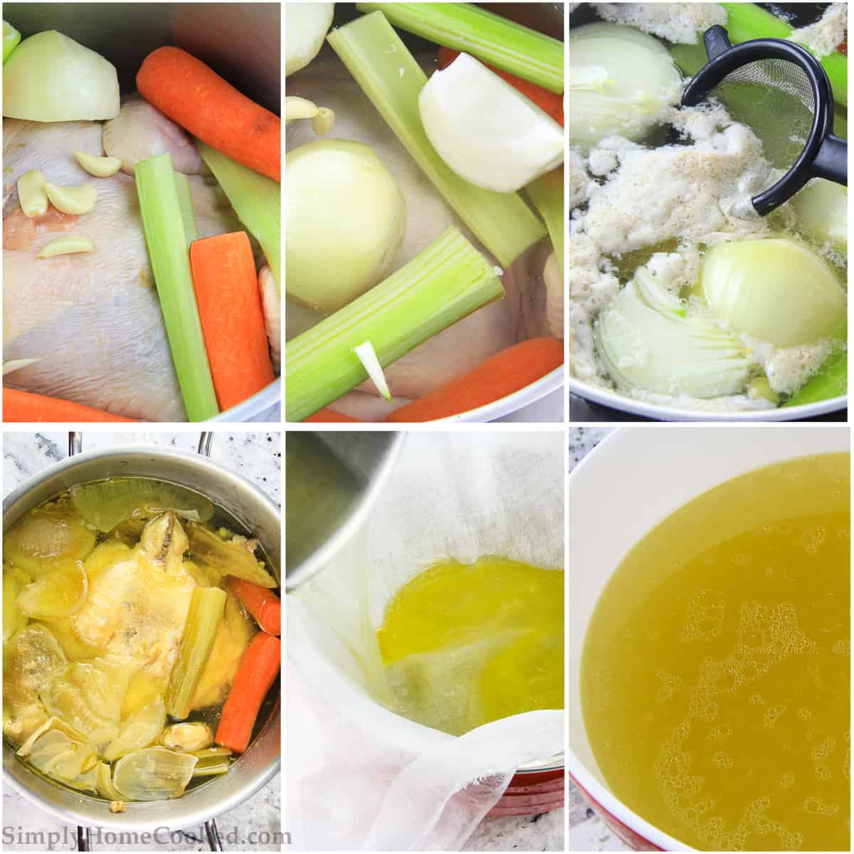 a step by step photo collage on how to make the best chicken broth recipe