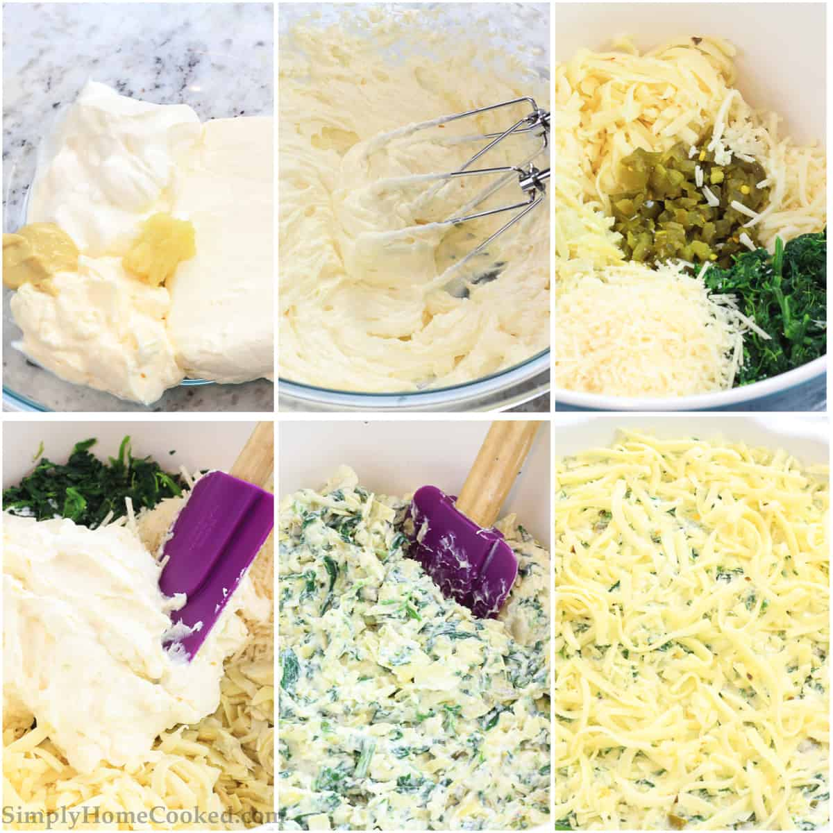 Six tiles showing the steps to make Jalapeno Artichoke dip: mayonnaise, sour cream, cream cheese, dijon mustard, and garlic in a bowl, mixed with a hand mixer, then with jalapenos, artichokes, and spinach added, mixed with a purple spatula, blended with cheeses, and then topped with more cheese.