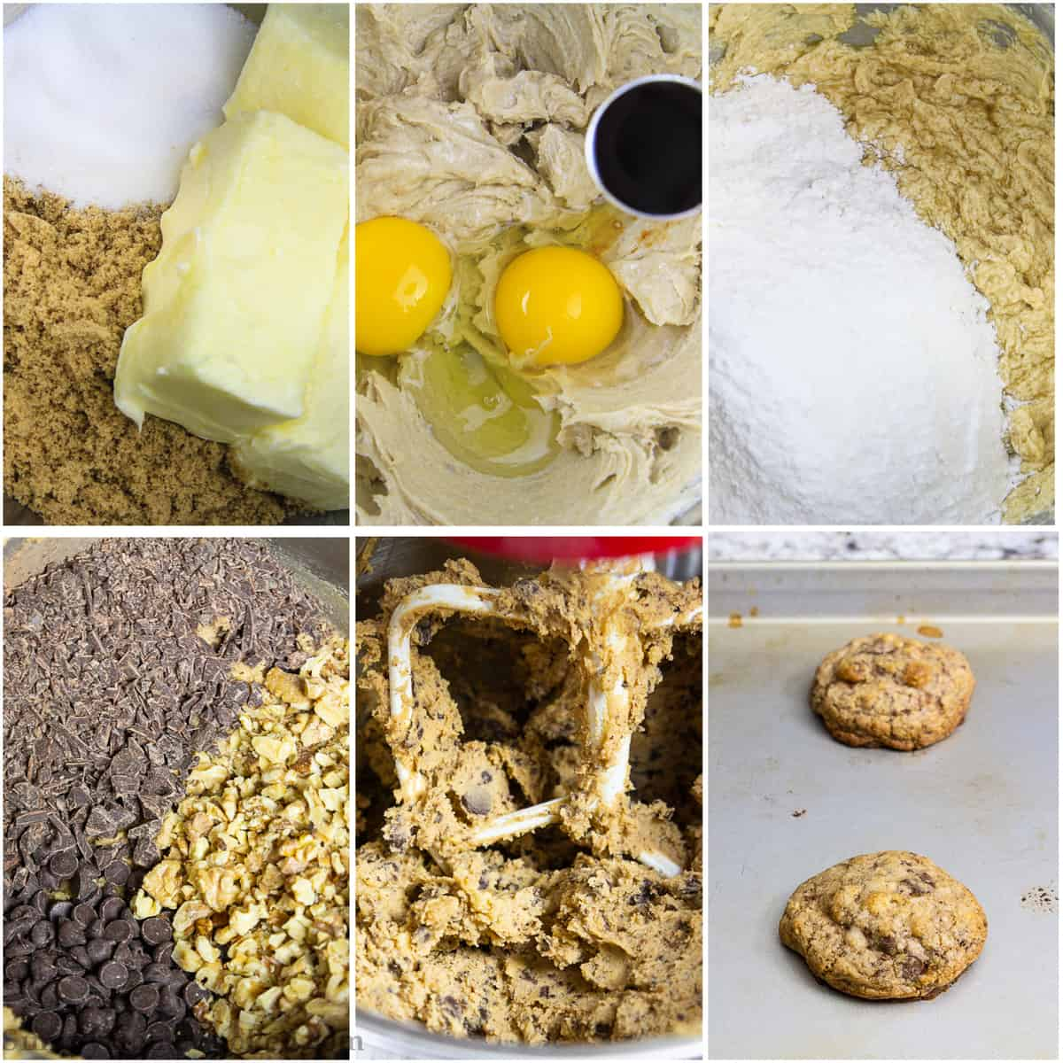 Step by step photo tutorial on mixing dough together for chocolate chip walnut cookies