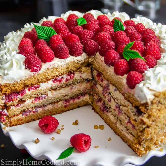 layered honey cake with raspberries