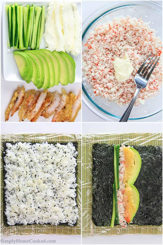 ingredients for shrimp tempura shushi roll