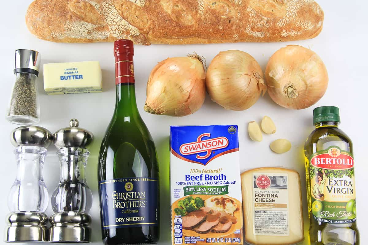 A overhead picture of all the ingredients that are needed to make the best french onion soup