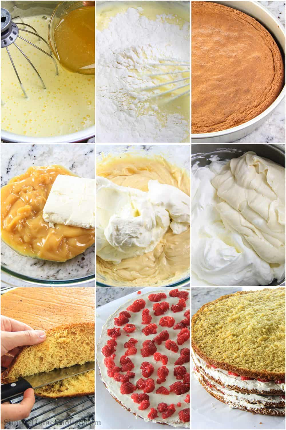 Photo collage of the process of making the raspberry cake and layering it to serve
