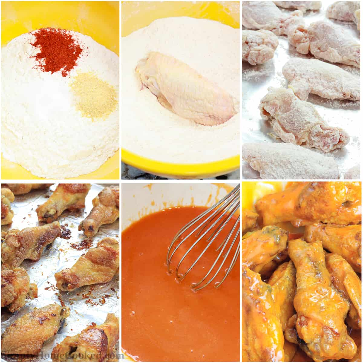 Overhead pictures in a collage showing the process of mixing the seasoned flour, dredging, and baking the baked chicken wings recipe before tossing in hot sauce mixture.