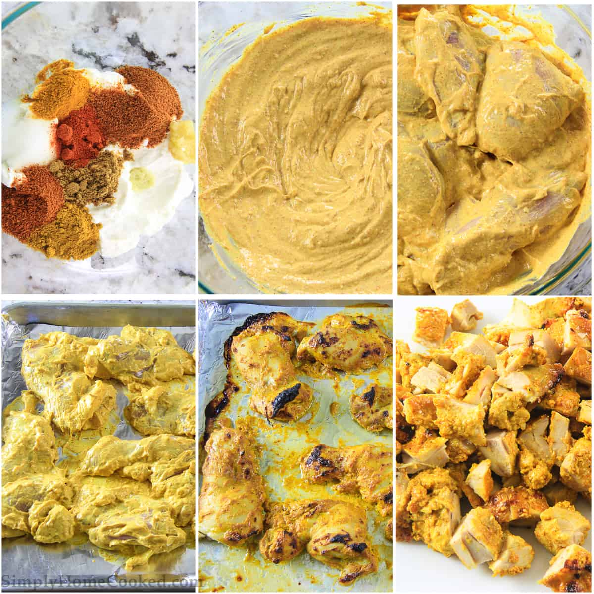 Six tiles showing the steps to make Indian butter chicken marinade, including combining spices with yogurt, covering the chicken, putting it on a baking sheet, and then cooking and cubing the chicken.