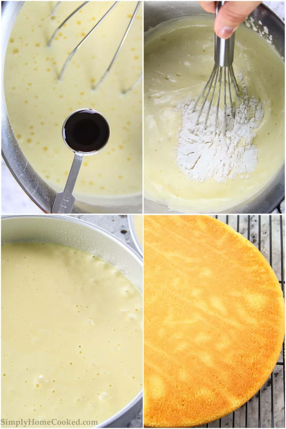 folding flour into cake batter, baked sponge cake in a baking pan