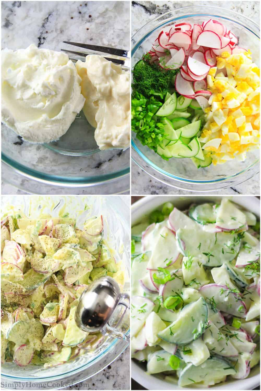 Photo collage of the step by step process of preparing and mixing together the radish salad with cucumbers and eggs