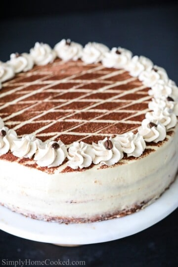 tiramisu cake with cocoa powder on top