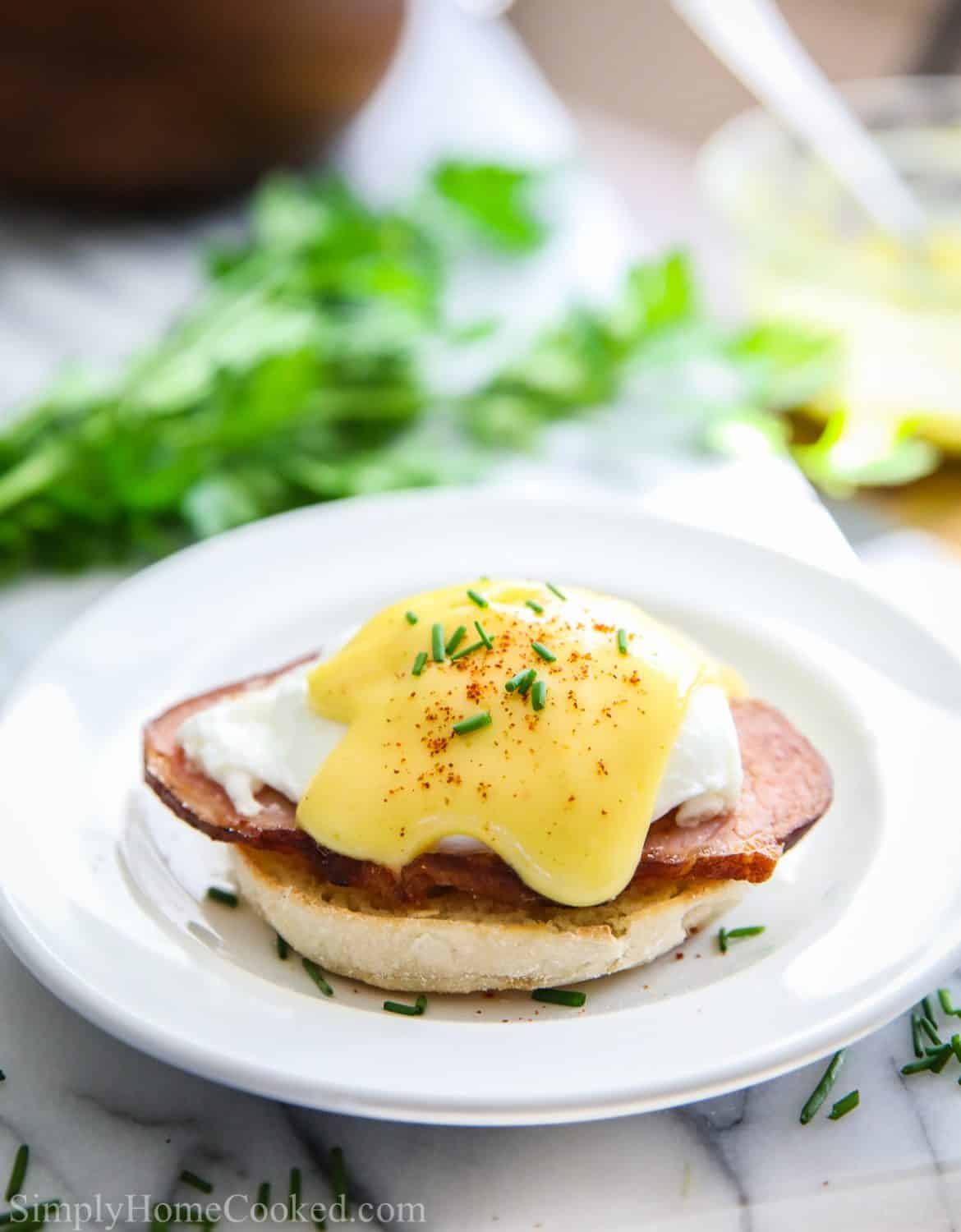 eggs Benedict on a white plate with parsley behind it