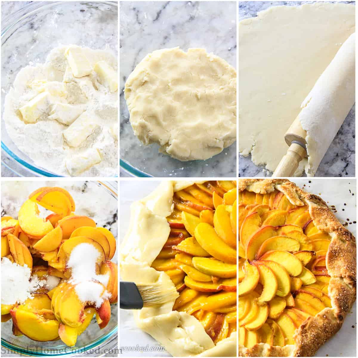 Photo collage of step by step process of making the dough and preparing the peach galette as well as the finished product laying on a marble surface
