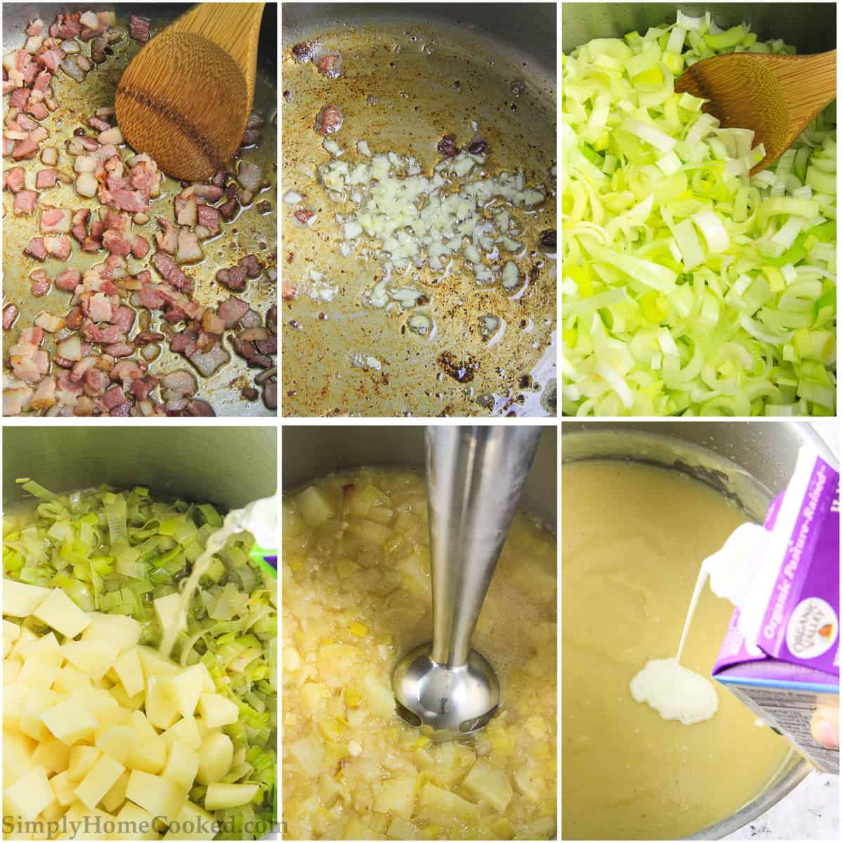 Photo step by step tutorial on cooking the bacon, garlic, and leeks prior to adding in the potatoes and broth to create this creamy potato soup recipe