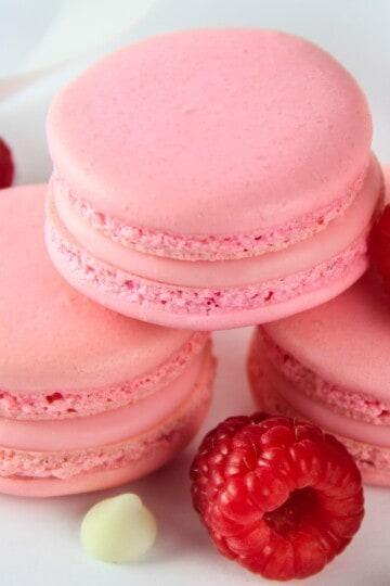 pink raspberry macarons