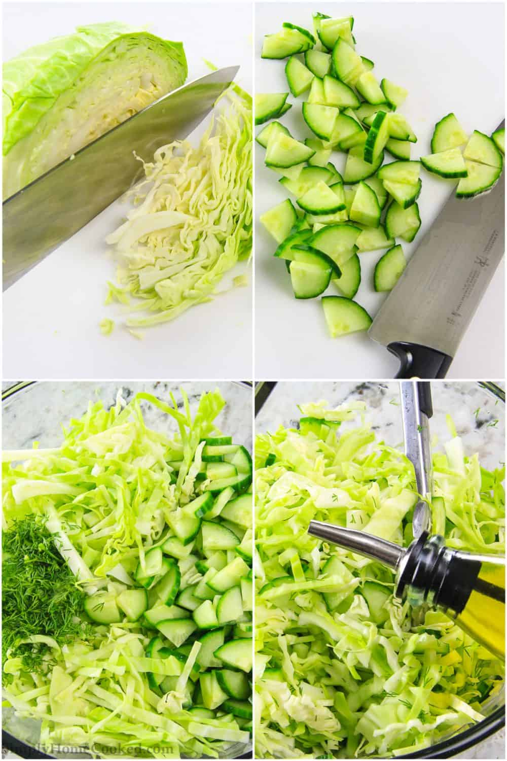 cabbage and cucumber salad recipe collage with step by step instructions
