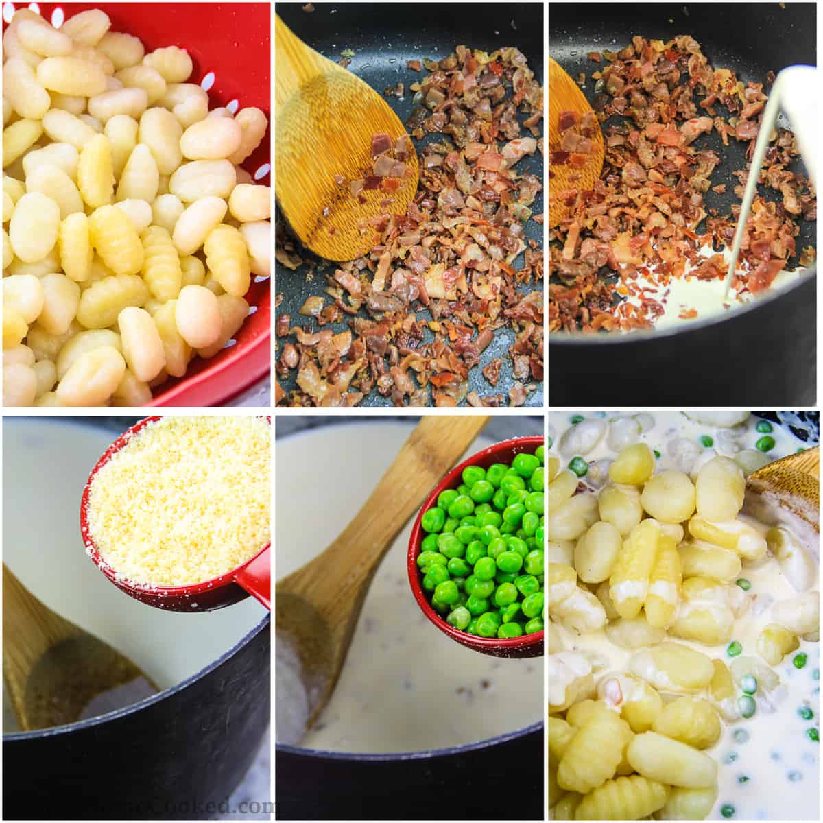 Step by step photo collage of cooking the potato gnocchi recipe including cooking the prosciutto and making the cream sauce
