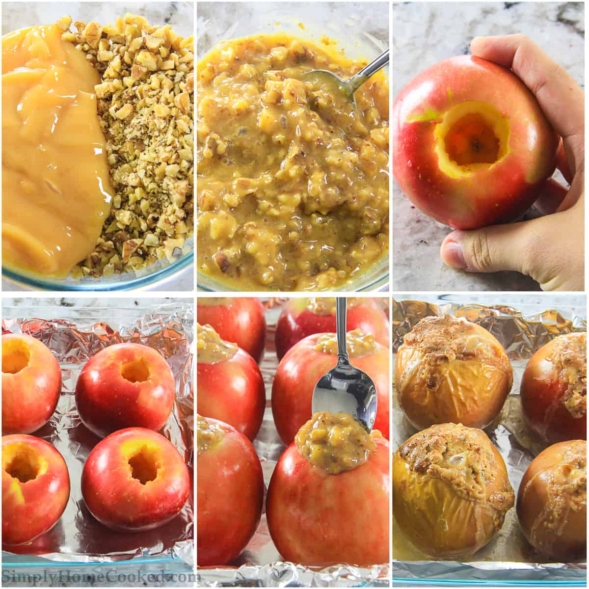 Steps on how to make baked apples. Mixing the walnut mixture, coring the apples, baking the apples in the oven.