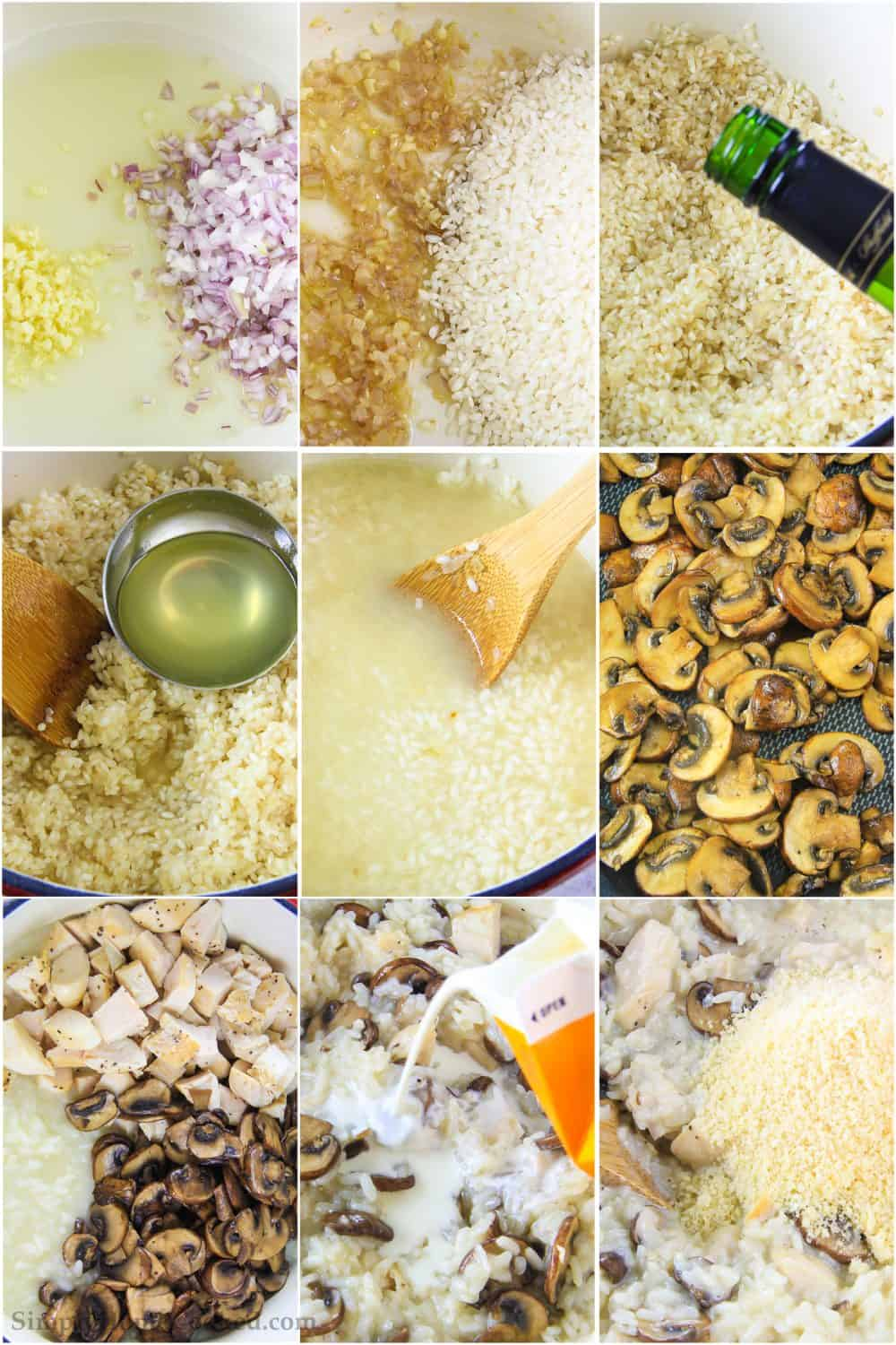 Step by step photo collage of the process of cooking the chicken risotto with mushrooms, parmesan, and heavy cream