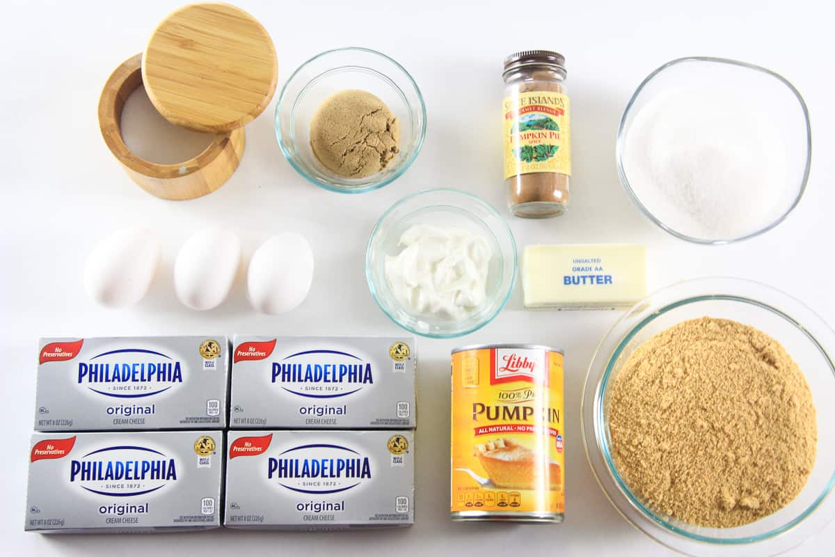 overhead image of ingredients for the best homemade pumpkin cheesecake recipe