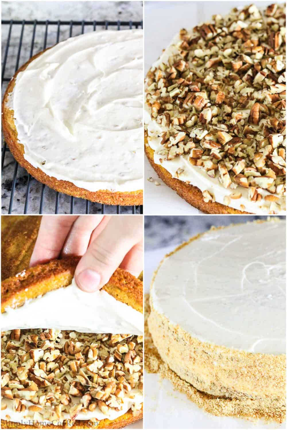 step by step photo collage of how to assemble a pumpkin cake