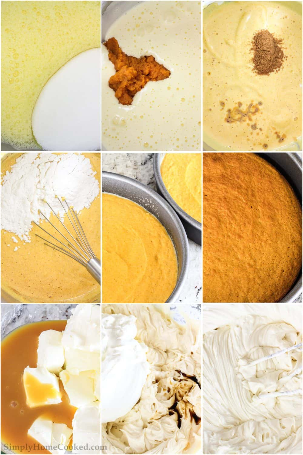 photo collage of steps on how to make pumpkin sponge cake, along with and easy homemade cream cheese frosting