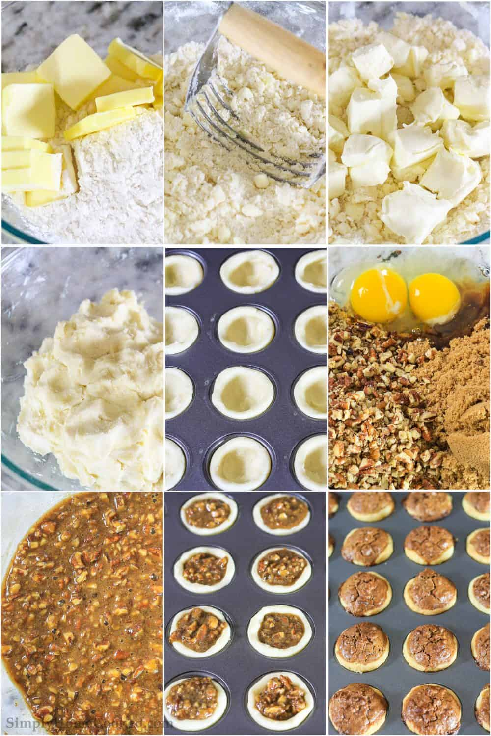 a step by step photo collage on how to make mini pecan tassies