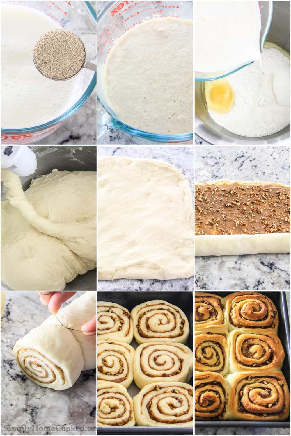 9 picture collage of the steps to make homemade cinnamon rolls from scratch