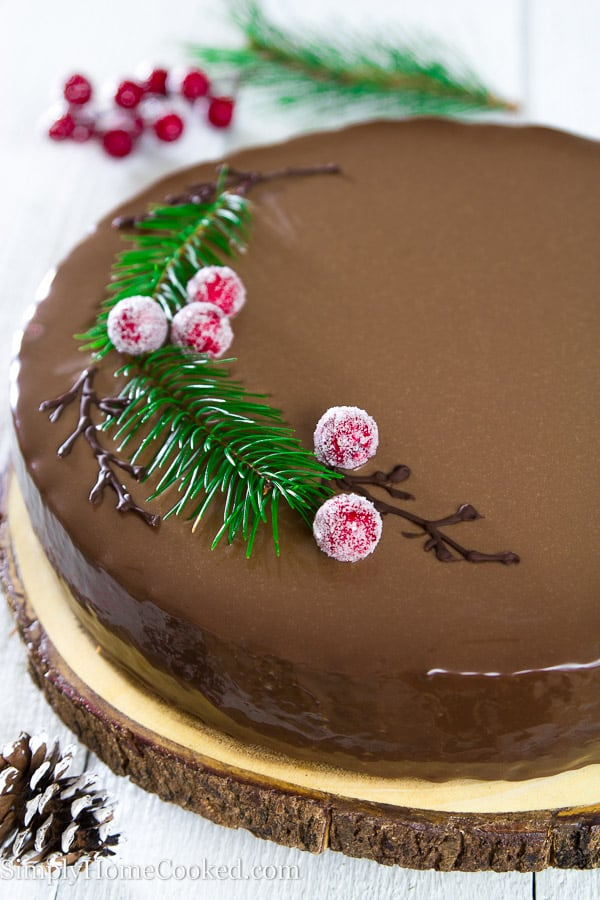 Up close picture of completed Drunken Chocolate Cherry Cake laying on a slice of wood that is laying on a white wooden table with pinecones and cherries alongside cake as decorations