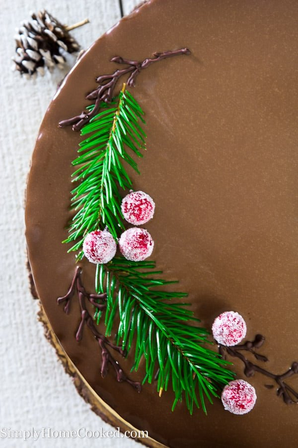 Overhead picture showing half of drunken chocolate cherry cake topped with greenery, sugared cherries, and piped chocolate branches while sitting on a white wooden surface.