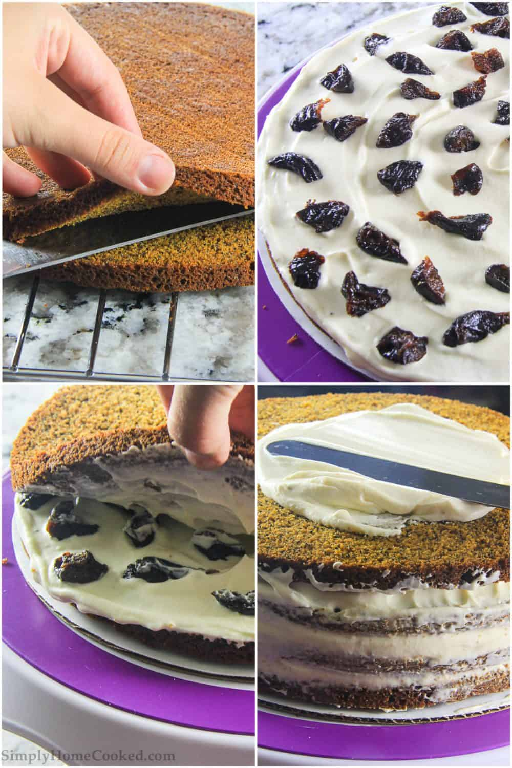 Four tiled images of a Poppy Seed Honey Cake being assembled by cutting the cake and spreading cream frosting and plums between the layers before frosting the outside.