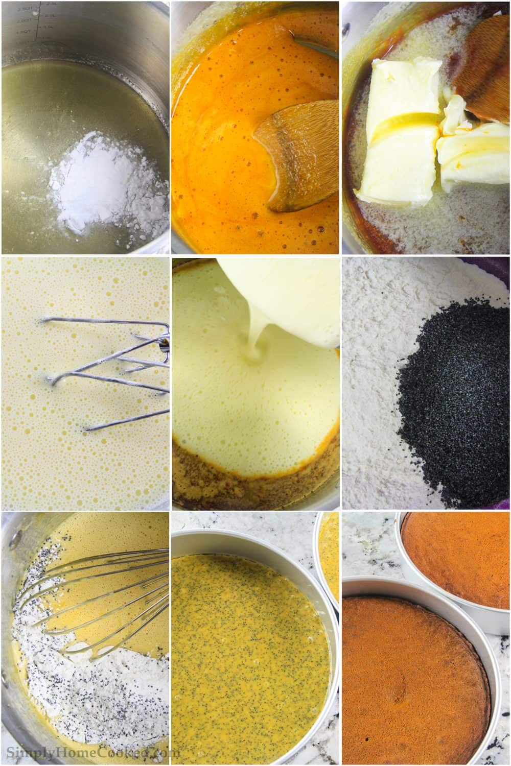 Nine tiled images of honey and baking soda being mixed with butter, sugar, poppy seeds, flour, and eggs, then poured into two bake pans.