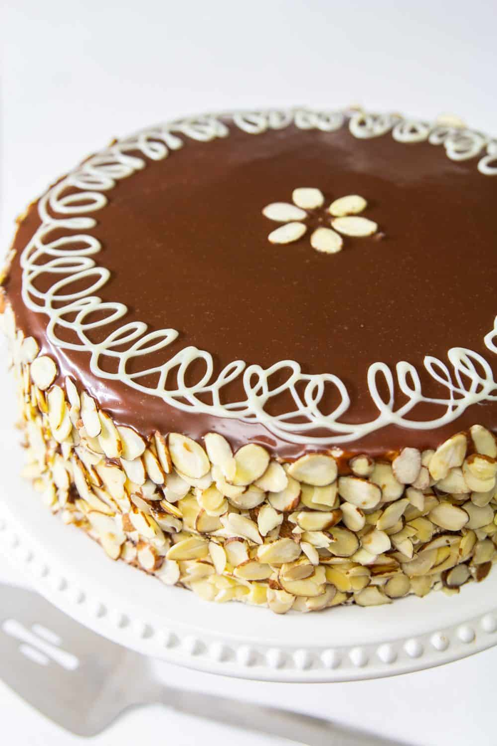 Poppy Seed Honey Cake covered in sliced almonds and chocolate ganache on a white plate and white background.