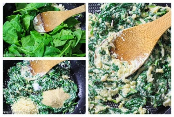 sautéed spinach in a pan