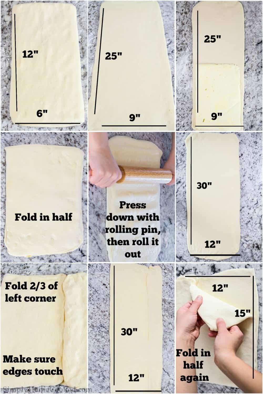 folding croissant dough